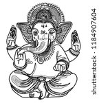 ganesha is a god. the head of...   Shutterstock .eps vector #1184907604