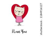 cute kitty with big red heart.... | Shutterstock .eps vector #1184916127