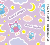 good night seamless pattern... | Shutterstock .eps vector #1184917987
