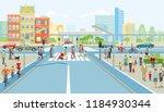 road junction with pedestrian... | Shutterstock . vector #1184930344