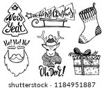 doodle christmas set. cute hand ... | Shutterstock .eps vector #1184951887