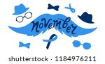mustache  hat  glasses and blue ... | Shutterstock .eps vector #1184976211