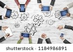 group of people with devices in ... | Shutterstock . vector #1184986891