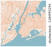 large map of new york city  usa ... | Shutterstock .eps vector #1184992294