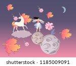 fantasy print. unicorn with... | Shutterstock .eps vector #1185009091