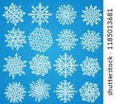 set of white snowflakes.... | Shutterstock .eps vector #1185013681