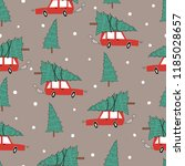seamless pattern with red car... | Shutterstock .eps vector #1185028657