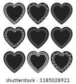 vectors set with black heart... | Shutterstock .eps vector #1185028921