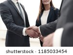 business shaking hands in the... | Shutterstock . vector #1185033454
