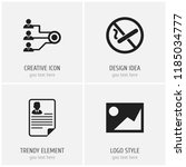 set of 4 editable bureau icons. ... | Shutterstock . vector #1185034777