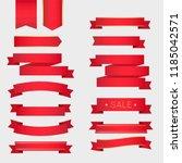 big vector red ribbon set.   Shutterstock .eps vector #1185042571
