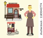 coffee house and barista | Shutterstock .eps vector #1185043774
