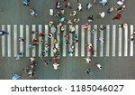 aerial. pedestrians passing a...