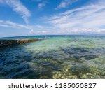 seaside landscape in fisheye... | Shutterstock . vector #1185050827