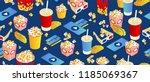 seamless pattern on blue... | Shutterstock .eps vector #1185069367