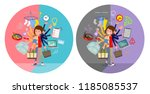 a set of women who perform... | Shutterstock .eps vector #1185085537