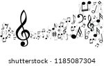 music notes musical notes waves ... | Shutterstock .eps vector #1185087304