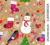 merry christmas winter seamless ... | Shutterstock . vector #1185088324