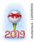 golf ball tied with a red bow... | Shutterstock .eps vector #1185098554