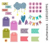 scrapbooking stickers vector.... | Shutterstock .eps vector #1185105991