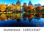 fall foliage reflected on a... | Shutterstock . vector #1185113167