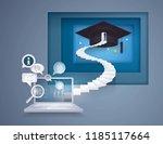 desktop computer with stair to... | Shutterstock .eps vector #1185117664