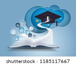 open book with stair to... | Shutterstock .eps vector #1185117667