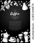 coffee shop design template.... | Shutterstock .eps vector #1185144874