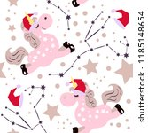 unicorn christmas pattern with... | Shutterstock .eps vector #1185148654