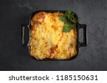 Stock photo healthy breakfast lasagna or casserole or a meat pie baked in the oven 1185150631