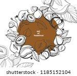 isolated vector hazelnut on a... | Shutterstock .eps vector #1185152104