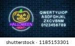 glowing neon sign of halloween... | Shutterstock .eps vector #1185153301