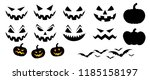 happy halloween party pumpkins... | Shutterstock .eps vector #1185158197