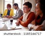 smiling designer freelance... | Shutterstock . vector #1185166717
