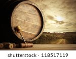 Corkscrew Wooden Barrel Vineyard Background - Fine Art prints