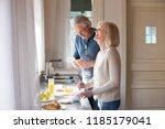 happy loving senior couple... | Shutterstock . vector #1185179041
