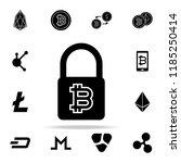 bit coin lock icon. crypto...   Shutterstock . vector #1185250414
