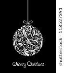 White Christmas Ball On Black...