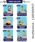emergency first aid cpr step by ... | Shutterstock .eps vector #1185304927