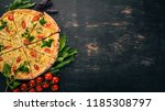 pizza with cherry tomatoes ... | Shutterstock . vector #1185308797