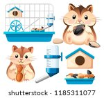 Stock vector hamster icon collection cute hamster sit and holding a sunflower seed and nut hamster cage 1185311077