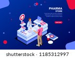 patient and pharmacist doctor... | Shutterstock . vector #1185312997