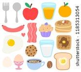 cute breakfast vector set. food ...   Shutterstock .eps vector #1185313054