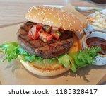 delicious beef burger.   Shutterstock . vector #1185328417