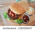 delicious beef burger.   Shutterstock . vector #1185330457