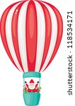 santa claus on the airship with ... | Shutterstock . vector #118534171