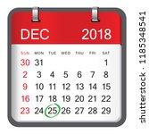 christmas day calendar.... | Shutterstock .eps vector #1185348541