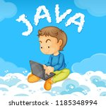 young man coding java on cloud... | Shutterstock .eps vector #1185348994