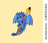 vector image dragon and brush  | Shutterstock .eps vector #1185351601