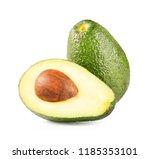 ripe half avocado isolated on... | Shutterstock . vector #1185353101